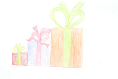 Childs drawing - gifts. Colorful gifts drawn by children with wax cryons, Three sizes Royalty Free Stock Photo