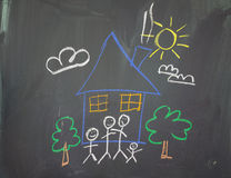 A childs drawing. Of a happy family at home Royalty Free Stock Image