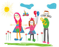 Childs drawing Happy family. On walk Stock Photos