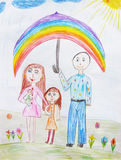 Childs drawing a happy family Royalty Free Stock Photography