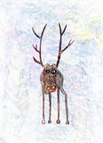 Childs drawing of a lonely deer Royalty Free Stock Photos