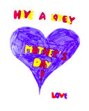 Childs drawing for mothers day Stock Photography
