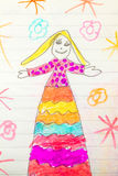 Childs drawing of pretty lady Royalty Free Stock Photos