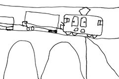 Childs drawing of train. Children`s drawing cartoon steam locomotive on a white background Royalty Free Stock Photography