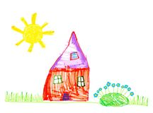Childs drawing. Vector hand drawn illustration of house and sun royalty free illustration