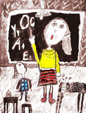 Childs drawing. Woman teacher at blackboard in classroom with girl explaining the lesson. Stock Images