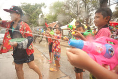 Childs enjoy splashing water in Songkran festival. Stock Photography