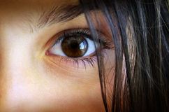 Childs eye. Macro shot of a surprised child's brown eye and hair Royalty Free Stock Images