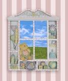 Childs Fenster-Feld Stockfotos