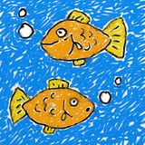 Childs fish drawing Royalty Free Stock Photo