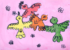 Childs gouache picture of birds Stock Image