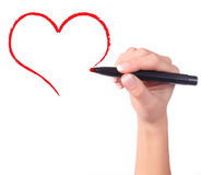 Childs hand drawing heart Royalty Free Stock Images