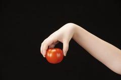 Childs hand med tomatoe Royaltyfri Fotografi