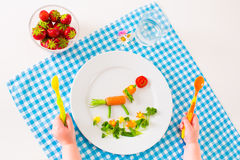 Childs hand och sund grönsaklunch Arkivfoto