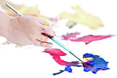 Childs hand painting Royalty Free Stock Photography