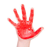Childs hand with red paint on it Royalty Free Stock Photo