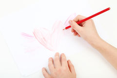 Childs hands drawing Royalty Free Stock Photography