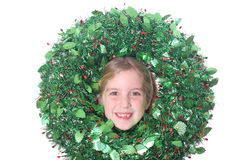 Childs head in wreath. Shot of a childs head in wreath Royalty Free Stock Photos
