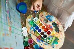 Childs het Schilderen Palet royalty-vrije stock foto's
