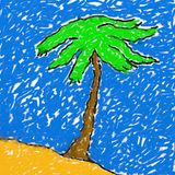Childs island drawing Stock Image