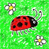 Childs ladybug. Childs style smudgy chalk drawing of a ladybug on textured canvas Stock Photos