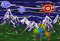 Childs Landscape Mountain View vector illustration