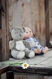 Childs leksaker som lämnas på en träfarstubro för landshus Royaltyfri Fotografi