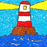 Childs lighthouse drawing royalty free illustration