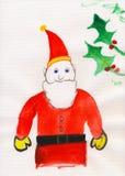 Childs målning - fadern Christmas - Santa Claus Arkivfoto