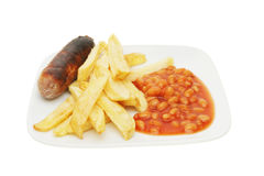 Childs meal sausage beans and chips Royalty Free Stock Photo