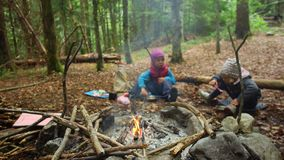 Childs near the campfire. Active Family Vacation Concept stock footage