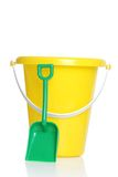 Childs pail and shovel. Isolated childs pail and shovel on white background Stock Photo