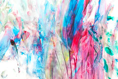Childs painting. Abstract colorful lines and spots royalty free stock images