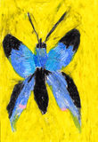 Childs painting of a butterfly Stock Images
