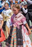 Childs at the parade of the Swabian folk costumes royalty free stock photo