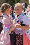 Childs at the parade of the Swabian folk costumes royalty free stock photos