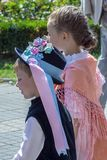 Childs at the parade of the Swabian folk costumes, Timisoara, Romania royalty free stock photo