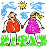 Childs parents. Childs style smudgy chalk drawing of happy parents holding hands drawn on textured canvas Stock Photography