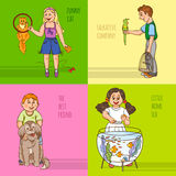 Childs And Pets Decorative Icon Set Stock Photography