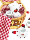 Childs picnicbasket Stock Images