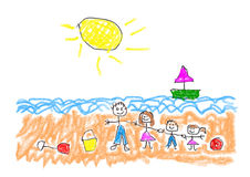 Childs Play - On The Beach With Family. Child like drawing on the beach with the family Royalty Free Stock Photography