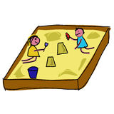 Childs playing in a sandpit Royalty Free Stock Image