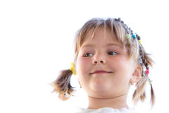 Childs portrait. Portrait of a beautiful tressed young child girl Royalty Free Stock Image
