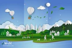 Childs que juega a fútbol con la ciudad limpia blanca en el fondo de papel del extracto de la escena del arte, ejemplo del vector libre illustration