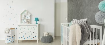 Childs room with white cot Royalty Free Stock Images