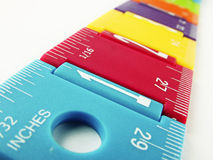 Childs Ruler. Kids colourful ruler showing measurements Stock Photo