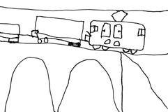 Childs rysunek pociąg Fotografia Royalty Free
