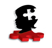 Childs silhouette on autism puzzle piece. Vector illustration of childs silhouette perched atop 3D red puzzle piece- perfect for autism-related articles and Stock Photos