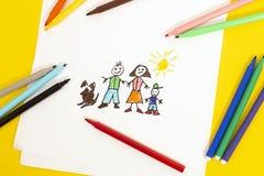 childs som tecknar familjen royaltyfri foto