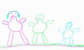 childs som tecknar familjen stock illustrationer